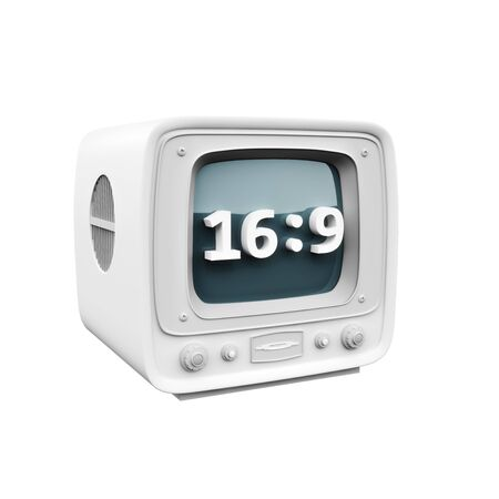 Retro Tv with a 16:9 HD aspect ration icon symbol on a white background. 3d rendering.
