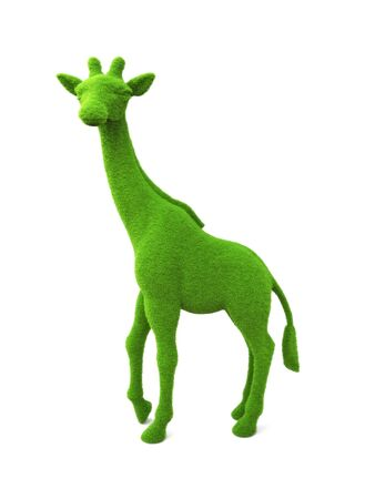 cut grass: Animal giraffe shaped grass hedge on a white background. Part of an animal theme series.3d render