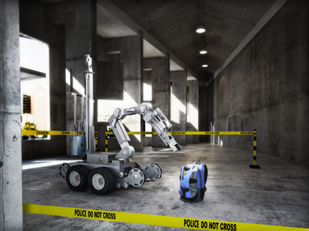 Police controlled bomb squad robot inspecting a suspicious backpack item inside a building interior.3d rendering. Archivio Fotografico