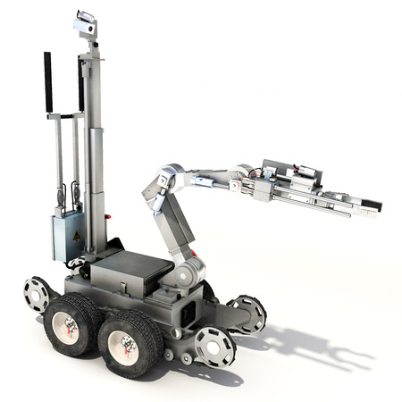 경찰 또는 격리 된 흰색 배경에 군사 통제 폭탄 처리반 로봇. 3d 렌더링