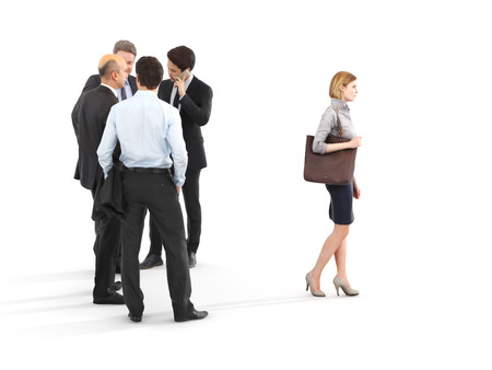 harassment: Image of a group of businessmen standing with a businesswoman walking in front. Leading the way, diversity or harassment concept. Photo realistic 3d rendering