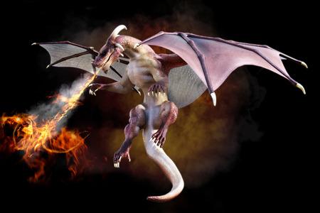 Fantasieszene eines roten Drachen bläst das Feuer auf einem Gradienten Rauch schwarzem Hintergrund. 3D-Rendering