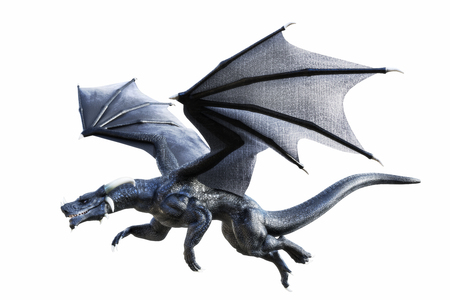 3D rendering of a black fantasy dragon flying isolated on white background