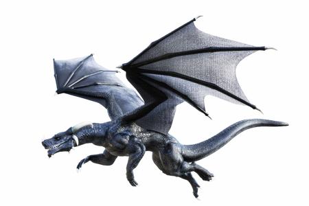 dragones: Representación 3D de un dragón de la fantasía del vuelo aislado negro sobre fondo blanco