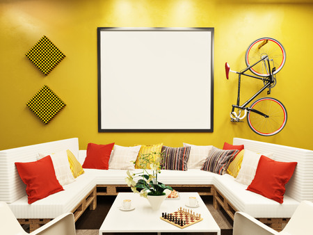 lounge: Colorful hipster lounge room with mock up poster. 3d rendering