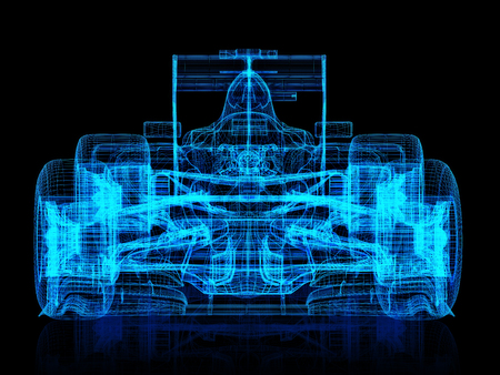 indy: 3d wire frame front view of a formula race car on a black background. 3d rendering