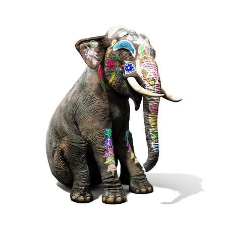 decorated: Colorful decorated elephant with large tradition in India sitting down with a isolated white background. 3d rendering