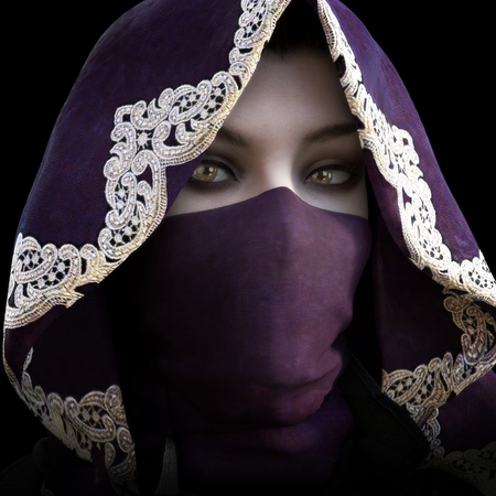 thievery: Mysterious masked hooded female staring at the camera. 3d rendering Stock Photo
