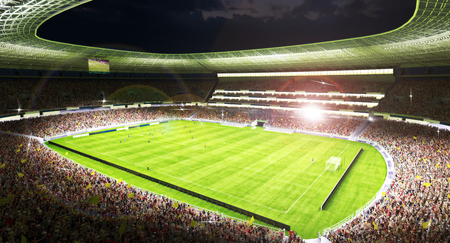 Soccer players in action at a grand soccer arena at night . 3d rendering Stock Photo