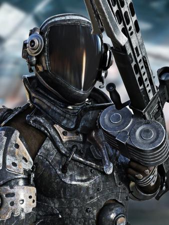 Futurista marina del espacio que presenta en un traje espacial con la representación weapon.3d