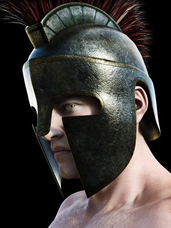 angled: Spartan warrior wearing traditional helmet .Angled profile looking toward the camera on a black background. 3d render