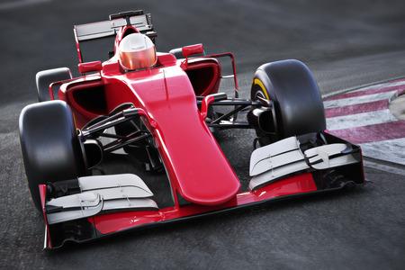 Motor sport raceauto voorkant schuin oog snelheidsovertredingen op een track. 3D-rendering