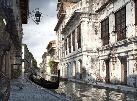 Italy backstreets with canal and gondola. 3d rendering