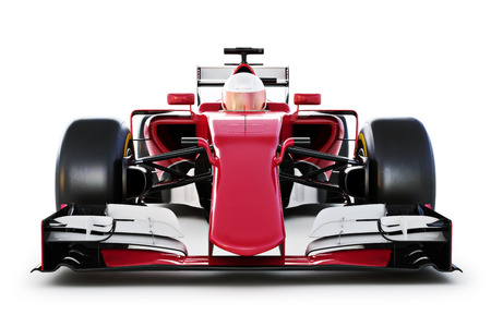 indy: Race car and driver front view on a white isolated background. 3d rendering