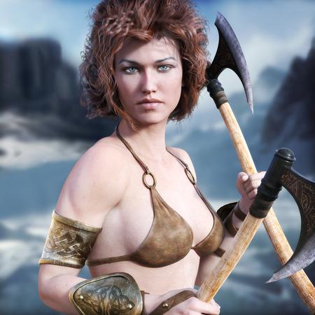 장엄한 겨울 배경으로 포즈 빨간 머리와 결투 축이 바바리안 여성. 3D 렌더링