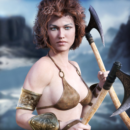 Barbarian female with red hair and duel axes posing with a majestic winter background. 3d rendering Stock Photo
