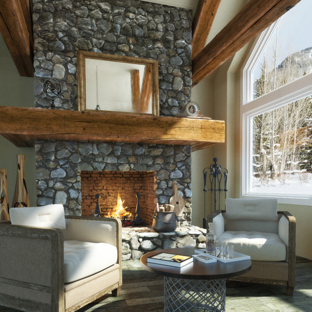 stone fireplace: Luxurious open floor cabin interior design with roaring fireplace and winter scenic background. Photo realistic 3d rendering