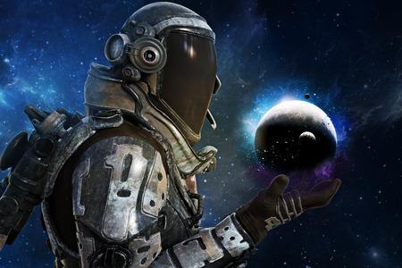 탐험, 은하 개념의 미래의 우주 비행사. 3d 렌더링