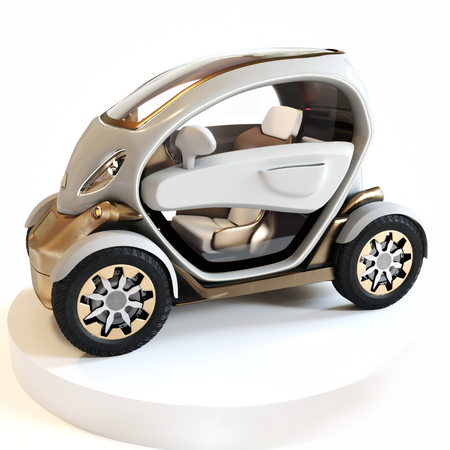 Futuristic personal concept car on display with a isolated white background. Generic design , 3d rendering