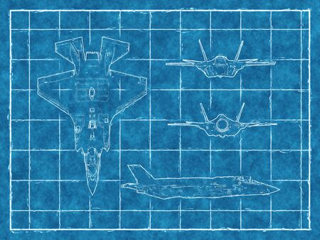 modern fighter: Blueprint of a jet aircraft with four views. 3d rendering