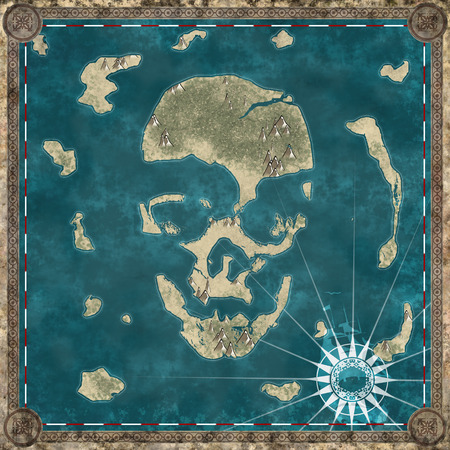 Skull island , map cartography of a island forming the shape of a skull. 3d rendering