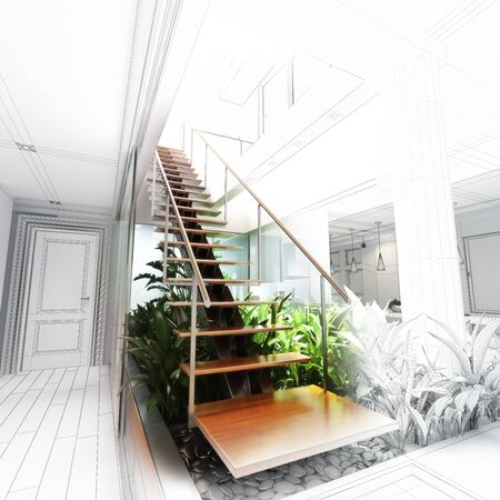 atrium: Sketch design of a stair hall with atrium , 3d rendering wire frame concepts Stock Photo