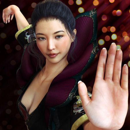Asian female, fighter practicing martial arts in traditional costume with a bokeh background . Kung fu and karate pose. 3d rendering