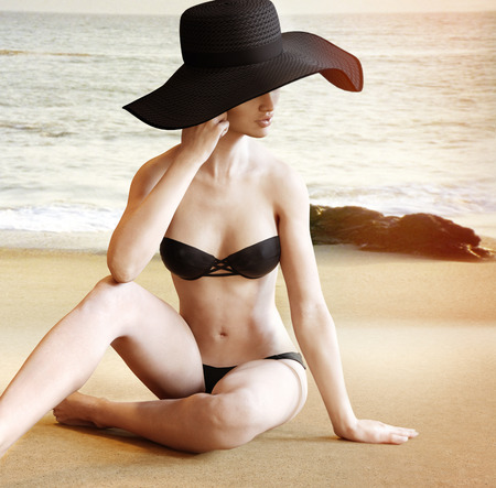 women bathing: Unrecognizable model sitting on the beach in fashion swimwear and a straw beach hat .3d rendering