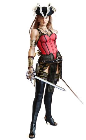 Sexy Pirate vrouwelijke stellen met een dubbele machete zwaarden op een geïsoleerde witte achtergrond. 3D-rendering