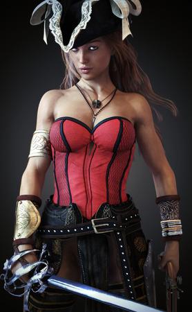 nude young: Sexy Pirate самка позирует с мечом мотыгу и пистолетом на фоне градиент. 3D-рендеринг Фото со стока