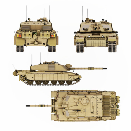 battlefield: Military armored tank illustration with four views of detail. Top,side,front and back 8k resolution image. Generic photo realistic 3d rendering Stock Photo