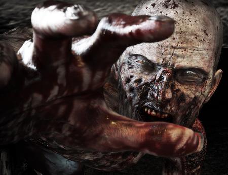 Primer plano retrato de un zombi miedo horrible ataque, llegando por su víctima inocente. Horror. Víspera de Todos los Santos. Las 3D
