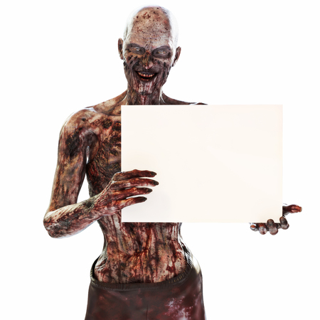 Zombie undead holding a blank advertisement sign card on a isolated white background with room for text or copy space event advertisement. 3d rendering Stock Photo