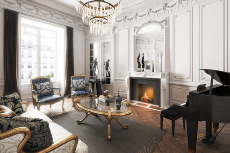 Luxury upscale elegant interior apartment with piano ,fireplace and chandelier . 3d rendering Stock Photo