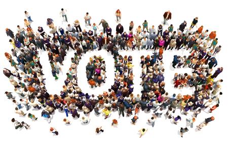 Les gens qui votent. Grand groupe de personnes marchant vers et formant la forme du vote du texte de mot sur un fond blanc. rendu 3d Banque d'images - 64764959