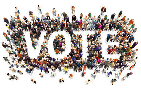 campaigning: People that vote. Large group of people walking to and forming the shape of the word text vote on a white background. 3d rendering