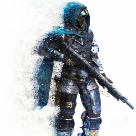 Futuristic Marine Soldier on a white background with splatter dispersion effect. 3d rendering 스톡 콘텐츠