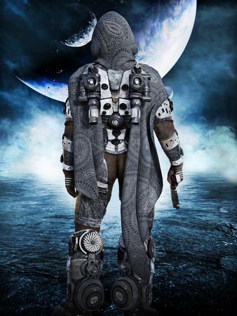 Exploration, Space Marine astronaut exploring new worlds. 3d rendering