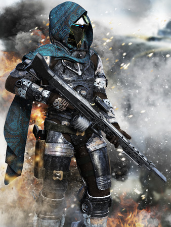 Futuristic ranger space Marine surveying the Battlefield . 3d rendering Imagens