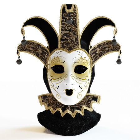 Venetian masquerade masks on a isolated white background. 3d rendering