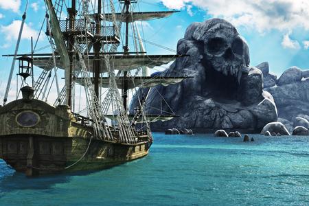 Szukaj wyspy czaszki. Statek piracki lub żeglugi handlowej zakotwiczony w pobliżu tajemniczej wyspy czaszki. Renderowania 3d Zdjęcie Seryjne