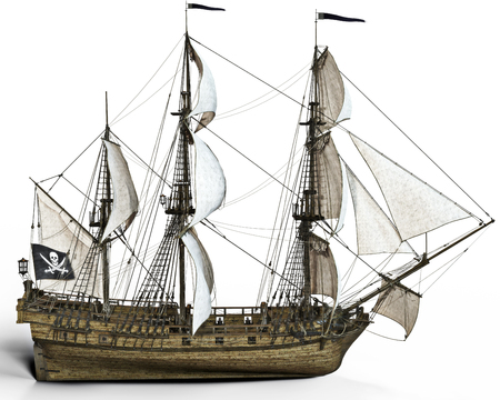 historical ship: Pirate ship with sails on a white background, 3d rendering Stock Photo