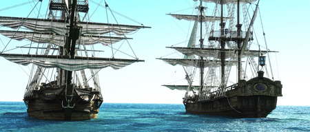 Pirate ships positioned close to each other out to sea. 3d rendering