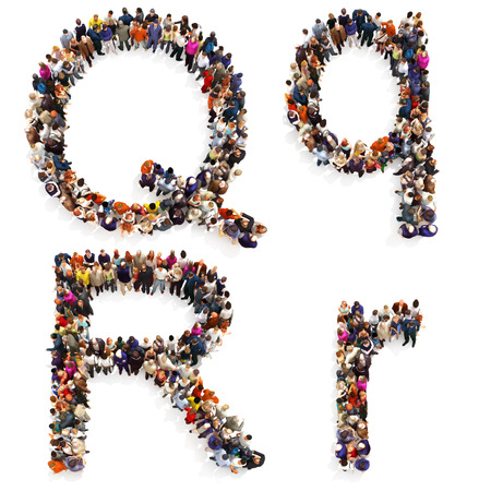 map case: Collection of a large group of people forming the letter Q and R in both upper and lower case isolated on a white background. Large 7k resolution map ,additional letters available, 3d rendering. Stock Photo