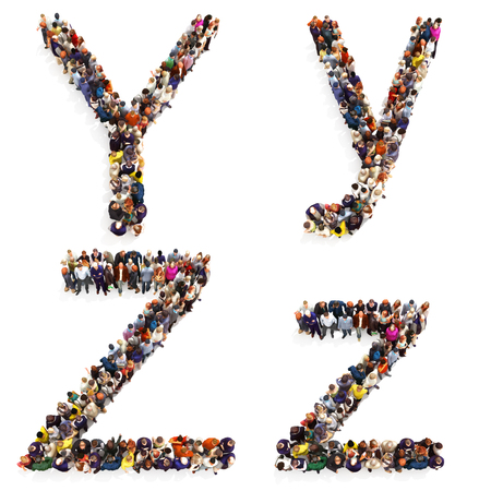 map case: Collection of a large group of people forming the letter Y and Z in both upper and lower case isolated on a white background. Large 7k resolution map ,additional letters available, 3d rendering. Stock Photo