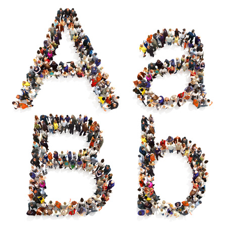 people group: Collection of a large group of people forming the letter A and B in both upper and lower case isolated on a white background. Large 7k resolution map , additional letters available,3d rendering. Stock Photo