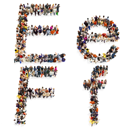 map case: Collection of a large group of people forming the letter E and F in both upper and lower case isolated on a white background. Large 7k resolution map ,additional letters available, 3d rendering.