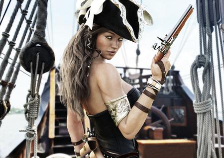 手にピストルで彼女の船の甲板に立っているセクシーな海賊の女性船長のプロフィール。3 d レンダリング