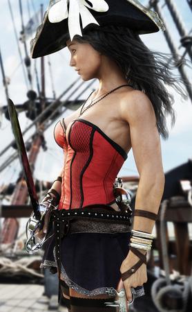 彼女の船のデッキに立っているセクシーな海賊の女性船長のプロフィール。ピストルと刀に手を守るために準備ができています。3 d レンダリング