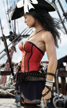 Profil eines Sexy Piraten weiblichen Kapitän auf dem Deck ihres ship.Pistol und Schwert in der Hand stehen bereit zu verteidigen. 3D-Rendering